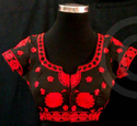Black Round Neck Red Colour Kutchi Emboridered Blouse
