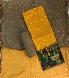 Cotton Daman Kutch Work Styles Unstitched Suit