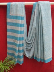 Cotton Casual Wear Ladies Hand Block Printed Saree, 6.3 m (with blouse piece)