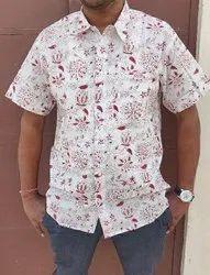 Male Printed Cotton Shirt, Size: 42