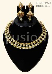 Formal Wear Artificial Jewelry Kundan Antique Necklace Set
