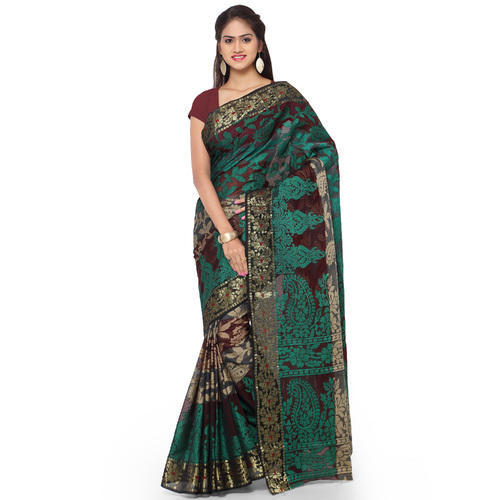 a66fd503e4 Printed Party Wear Brown & Green Mango Design Pallu Cotton Silk Saree