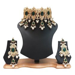 Wedding Bollywood Green Choker Necklace Earring Set