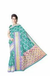 All Over Sea Green Color Dupion Silk Bandhani Saree