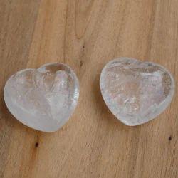 Clear Quatrtz Crystal Puff Heart