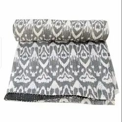 Grey And White Printed Kantha Bedspread