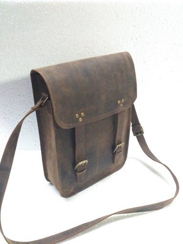 Brown HV Vintage Leather Postman Messenger Bag cee5b48020262