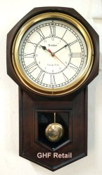 Antique Look Pendulum Wall Clock Coffee Colour Wooden Base and Brass Ring, 20 inch Height and 8 inch
