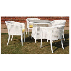 White 4 Seater Wicker Glass Top Dining Table