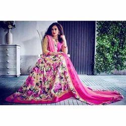 Cotton Pink Printed Lehenga Choli