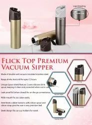 Stainless Steel Grey and Golden Flick Top Premium Vacuum Sipper Water Bottle, For Office