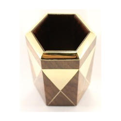 Innovative Exports Brown And Golden Hexagon Wooden Pen Stand, For Decoration