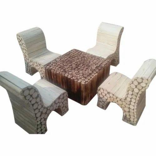F Studio Teak Wood Outdoor Log, Outdoor Log Furniture
