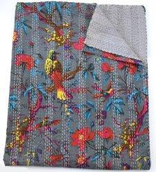 Indian handmade hand stitched block printed Kantha Quilt Indian Rajasthani style