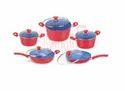 Polished Aluminium Cookware Set - 10 Pcs . Small Groove