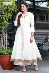 DOUBLE LAYERED PRINTED KURTI WITH JACKET