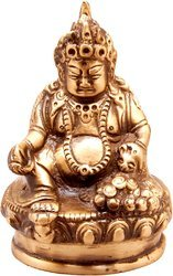 Brown, Golden (Gold Plated) Brass Statue Kubera (God Of Wealth