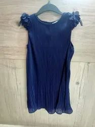 Girls Pleated Blue Top