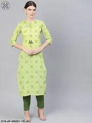 Nayo Green Bandhni Printed Straight Kurta