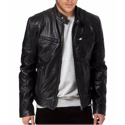 Black Full Sleeve Men Rider Leather Jacket