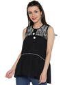 Black Cotton Girls Casual Top