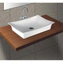 Ceramic Rectangular Table Top Wash Basin, for Bathroom, 60 X 40.5 X 15.5 Cm