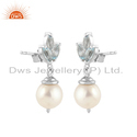 White Rhodium Plated Silver Pearl & Blue Topaz Gemstone Earring