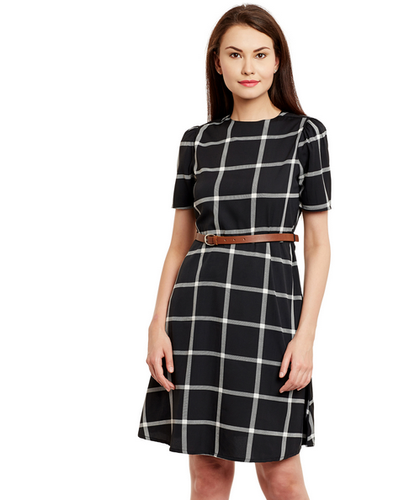 77893b8cb Women Black And White Checked Fit And Flare Dress - Black at Rs 1199 ...