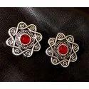 Oxidized Ruby Gemstone Earrings