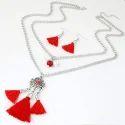 Onesize Jewel Touch Red Diamond Leaf Shape Jewelry Set