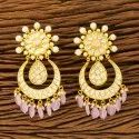 Girls Brass & Copper Kundan Chand Earring With Gold Plating 300160