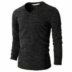 V-Neck Full Sleeves Mens Knitted T-Shirt, Size: Large