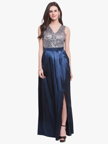 2b609d02 Martini Women Navy Blue Silver Sequin Premium Party Gown at Rs 1172 ...