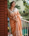 Linen Floral Embroidery Work Sarees