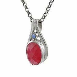 Ruby Rainbow Silver Pendant