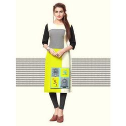 Fancy Printed Casual Wear Crepe Kurti