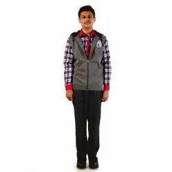 Collar Neck Grey Polyester Winter School Jacket
