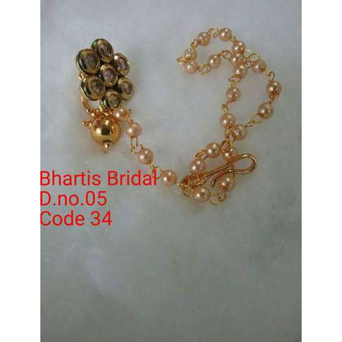 Bharti Bridal Golden Stud Nose Ring Chain Rs 82 Piece Bharti
