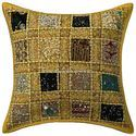 Designer Cushion Cover Patchwork Sequin Cotton Cushion Cover