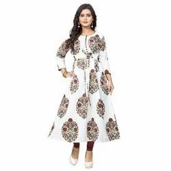Party Wear Straight Ladies Printed Cotton Long Kurti, Size: M-XXL, Wash Care: Handwash