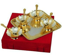Silver & Gold Plated Bowl Set 9 Pcs. (Bowls 4 Diameter & Tray 10x10)-BSG024