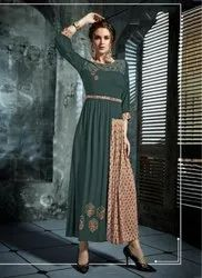 Rayon Slub Embroidery Work Casual Wear Kurtis