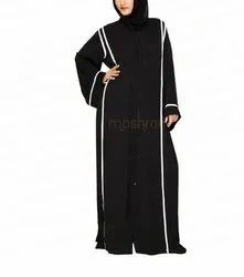 Black And White Side Pleated Abaya (available In Black And Gold)