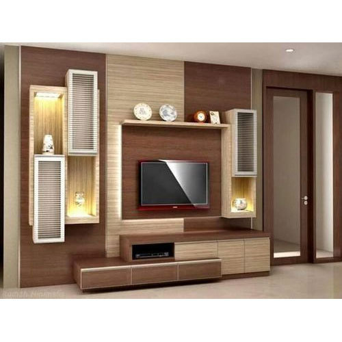 Modular Cabinets Living Room: Wood Wall Mounted Brown Modular TV Unit, Warranty: 3 Year