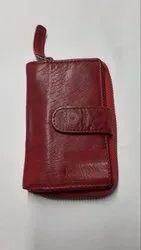 Ellena Stylish Wash Genuine Leather RFID Clutch Wallet Purse for Women-Red