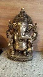 Brass Black Antique Finish Ganesh Idol