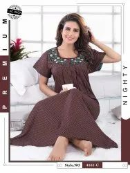 Full Length Embroidered Alphine Nighty, Free Size