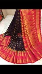 Party Wear Embroidered Silk Saree, 6.3 m (with blouse piece)