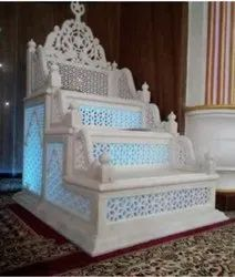 Carved White Marble Masjid Mimber