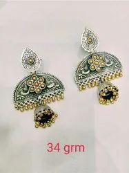 Golden Fancy Silver Gold Plated Earrings, Size: Depends